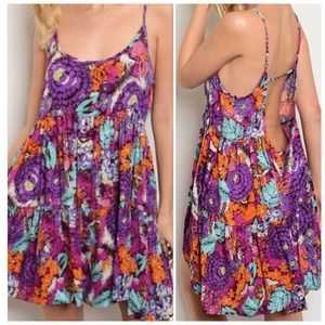 Floral Spaghetti Strap Tunic Dress